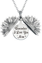Silver Remember I Love You Mom Sunflower Pendant Necklace