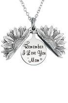 Sølv husker jeg elsker dig mor solsikke vedhæng halskæde
