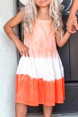Arancione Ombre Tie-dye senza maniche Flowy Kids 'vestito genitore-figlio