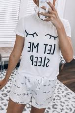 Hvid øjenvipper slogan T-shirt og snor shorts Lounge Set