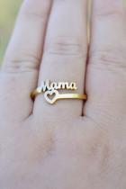 Guld Vintage Mama & Heart Ring