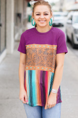 Colorblock Splicing Mixed Prints T-shirt