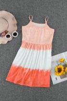 Orange Ombre Tie-dye Sleeveless Flowy Kids' Parent-child Dress