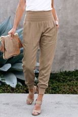 Pantaloni da jogging con tasche in vita larga color kaki