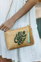 Palm Leaf Tassel Zipper Straw Woven Crossbody Bag