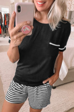 Solid Tee Striped Shorts Set Lounge