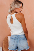 White Cropped Ribbed Halter Tank
