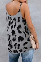 Tricou gri tricotat cu leopard