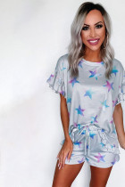 Grey Star Print Ruffled Tee Mift Short û Drawstring Shorts Lounge Se