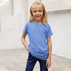 小さな女の子のためのスカイブルーサイドボタンディテール半袖Tシャツ