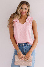 Pink Swiss Dot Woven Sleeveless Top With Ruffled Straps