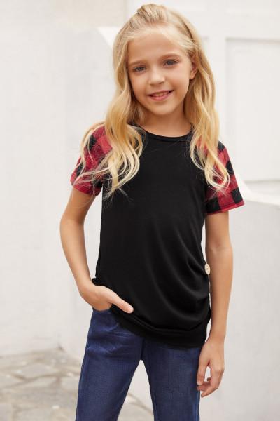 Kaos Anak Perempuan Lengan Raglan Kotak-kotak Hitam