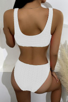 White Scalloped Edges Ribbed Bikini