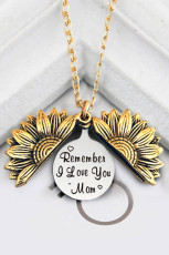 Collana con ciondolo girasole in oro Remember I Love You Mom