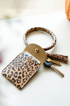 Brown Leather Tassel Coin Purse Card Case Wrist Pendant