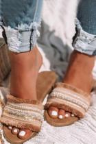 Pantofola piatta open toe cachi bohémien