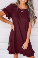 Wine Flounce Design Leopard Printed Short Sleeve Mini Dress