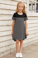 Black Colorblock Patchwork Striped Girls' Dress