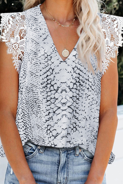 Top Printing Lace Shoulder Tank Top