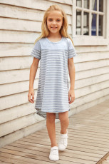 Gray Colorblock Patchwork Striped Girls' Dress