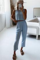 Mavi Crop Tank ve Pantolon Salon Takımı