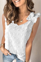 White Swiss Dot Woven Sleeveless Top With Ruffled Straps