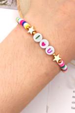 Mama I Love You Star Kolorowe koraliki regulowana bransoletka