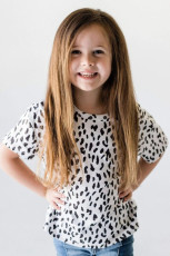 Beyaz Leopar Küçük Kız Çocuk Tişörtü