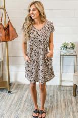 Khaki Cheetah Print Mini-kjole med lommer