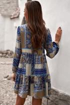 Casual hals slips Vintage trykt etnisk stil løs mini kjole
