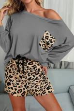 Šedé pevné dlouhý rukáv a leopardí kraťasy Loungewear