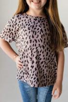 Siyah Leopar Küçük Kız Çocuk Tişörtü