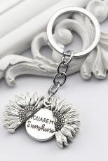 Portachiavi in argento con girasole You Are My Sunshine
