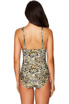 Classic Leopard Lattice Plunge One Piece Swimsuit