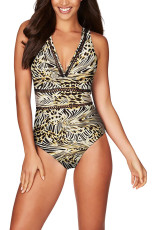 Baju Renang One Piece Leopard Lattice Plunge