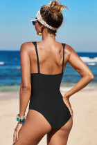 Baju Renang One Piece Black Lattice Plunge
