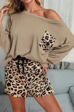 Vêtement d'intérieur uni à manches longues et short léopard marron