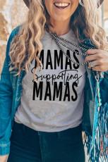 Camiseta gris con estampado gráfico de apoyo de MAMAS