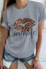 T-shirt grigia Leopard Lip Mom Life