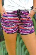 Pantaloni scurți cu cordon de buzunar imprimat roz