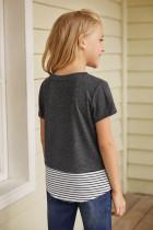 T-shirt-a Keçikên Rengîn ên Splicing Printing Grey