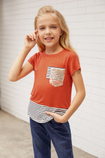 Sequins Pocket Splicing Stripes Girls 'T-shirt