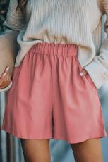 Pantaloncini a vita alta con tasche in misto cotone