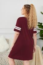 와인 그래픽 프린트 스트라이프 반팔 플러스 사이즈 슬립 드레스
