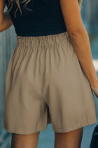 Khaki Cotton Blend Pocketed High Rise Shorts