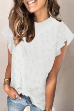 Kaos Swiss Dot Lengan Ruffled Putih