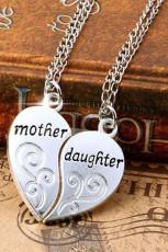 Mor og datter hjerte vedhæng halskæde