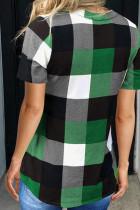 تاپ آستین کوتاه گردن سبز الگوی V