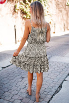 Leopard spaghetti stropper flæse mini kjole