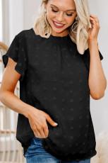 Schwarze Rüschen-T-Shirts mit Rüschenärmeln